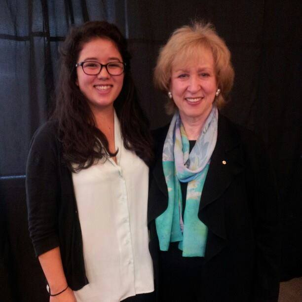 NPSIA first year student Emily takes a photo with Kim Campbell