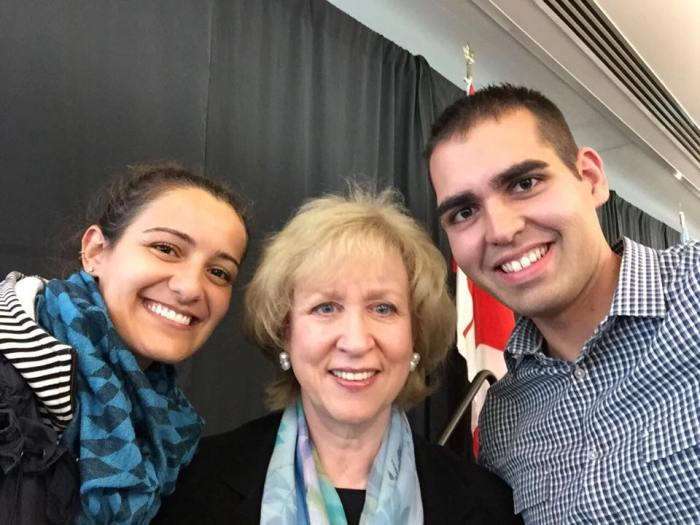 NPSIA first year student Jeremy takes a selfie with Kim Campbell