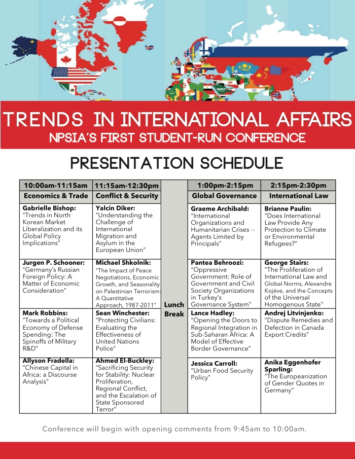 Trends in Int'l Affairs - Presentation Schedule