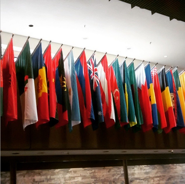 Flags in the lobby of 125 Sussex, Lester B. Pearson Building, where Julia works